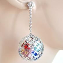 ORECCHINI donna ARGENTO cristalli strass brillantini silver lady earrings H39