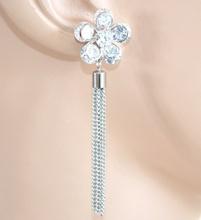 ORECCHINI donna ARGENTO cristalli strass fiore pendenti da cerimonia eleganti da sposa E53