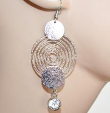 ORECCHINI donna argento diamantati pendenti lunghi cerchi spirale cristallo CC78