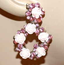 ORECCHINI donna argento fiori ROSA CIPRIA pendenti cerchi strass earrings BB10