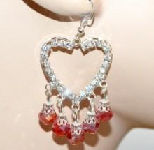 ORECCHINI donna argento platino cristalli rossi cuori pendenti strass CC28