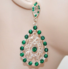 ORECCHINI donna argento platino strass verdi pendenti etnici cristalli earrings CC208