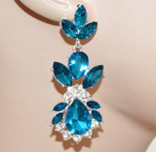 ORECCHINI donna CRISTALLI argento platino strass azzurri brillantini boucles CC175