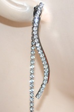 ORECCHINI donna GRIGIO NERI strass fili pendenti perla cristalli boucles F65X
