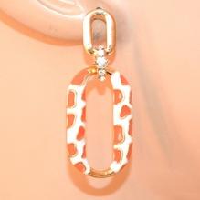 ORECCHINI donna oro bianco arancio corallo  pendenti ovali strass elegati boucle A66
