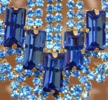 ORECCHINI donna ORO BLU cristalli pendenti lunghi strass eleganti pendientes earrings BB62