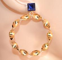 ORECCHINI donna ORO BLU cristallo cerchi pendenti ondulati Creolen gold hoops earrings CC225