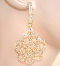 ORECCHINI donna ORO cristalli STRASS pendenti eleganti cerimonia feste E65