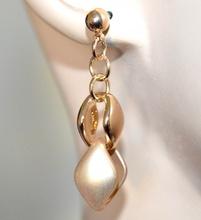 ORECCHINI donna oro dorato lucido satinato anelli pendenti eleganti earrings A49