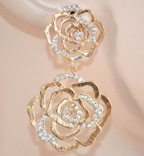 ORECCHINI donna oro eleganti STRASS matrimonio CRISTALLI ROSE pendenti da cerimonia 135X