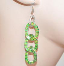 ORECCHINI donna verde fluo arancio cerchi pendenti anelli argento etnici pendientes S2