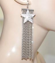 ORECCHINI fili pendenti lunghi grigio argento donna ciondolo stella strass Anhänger G35