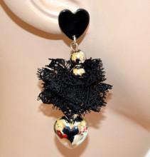 ORECCHINI NERI ARGENTO donna ciondolo cuore pizzo dorati pendenti silver earrings CC190