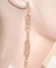 ORECCHINI ORO AMBRA CORALLO  donna  pendenti lunghi cristalli strass eleganti   L10