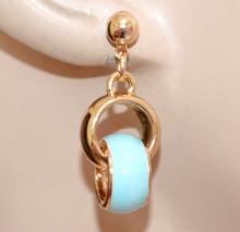 ORECCHINI ORO Ciondoli Azzurri turchesi donna pendenti dorati charms smaltati brincos N75