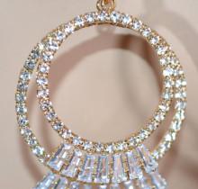 ORECCHINI ORO donna cerchi dorati strass cristalli brillanti elegante earrings круги D9