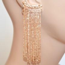 ORECCHINI ORO donna strass ROSA CORALLO pendenti fili lunghi cristalli cerimonia BB82