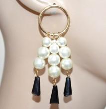 ORECCHINI oro dorati cerchi fili perle bianche donna pendenti cristalli neri ragazza CC88