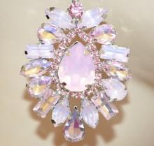 ORECCHINI ROSA CIPRIA argento donna cristalli pendenti strass eleganti cerimonia BB70