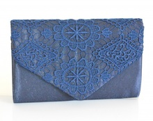 POCHETTE borsello BLU donna raso elegante borsa ricamata cerimonia festa H5