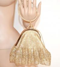 POCHETTE ORO a BRACCIALE donna CRISTALLI strass borsa BORSELLO elegante clutch bag cerimonia F89
