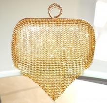 POCHETTE ORO donna STRASS borsello clutch fili cristalli borsa elegante sposa cerimonia E40
