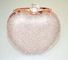 POCHETTE ORO ROSA donna borsello cuore strass clutch bag cristallo cerimonia G50