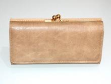 PORTAFOGLIO BEIGE CAMEL donna oro borsello eco pelle venature portamonete G9