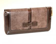 PORTAFOGLIO marrone bronzo donna borsello portamonete clutch eco pelle vernice zip G15