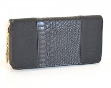 PORTAFOGLIO NERO borsello zip oro donna pelle portamonete borsellino clutch A14