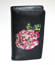 PORTAFOGLIO NERO donna borsello pochette eco pelle paillette clutch bag regalo G2