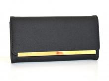 PORTAFOGLIO NERO ORO donna borsello pochette pelle borsa clutch bag regalo F115