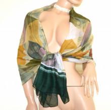 Scialle stola donna verde ambra bronzo rosa maxi sciarpa foulard coprispalle viscosa scarf bufanda Schal D20