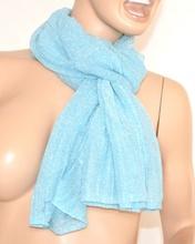 SCIARPA donna BRILLANTINATA AZZURRA foulard pashmina scialle scarf écharpe шарф 5