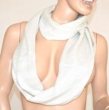 Sciarpa scaldacollo BIANCA donna FILI argento metallizzati ad anello sciarpetta ELEGANTE cerimonia scarf 1000