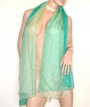 STOLA 20% SETA VERDE BEIGE GIALLO donna foulard coprispalle velato maxi scialle silk scarf 800
