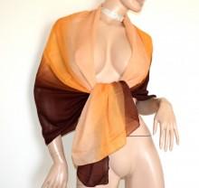 STOLA ambra arancio marrone bronzo donna maxi foulard coprispalle velato sciarpa scialle B5