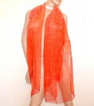 STOLA ARANCIO CORALLO donna 100% SETA foulard velato coprispalle scialle sciarpa scarf G78