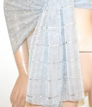 STOLA ARGENTO foulard maxi donna coprispalle scialle velato elegante sciarpa cerimonia G64
