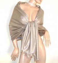 STOLA beige oro scialle coprispalle donna foulard maxi brillantinato cerimonia A75