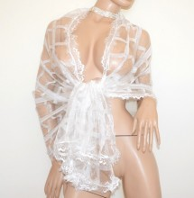 STOLA BIANCA 30% SETA maxi foulard donna sciarpa velata coprispalle trasparente scialle ricamato elegante scarf G72
