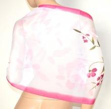 STOLA coprispalle donna 40% seta velata bianco rosa fucsia foulard elegante cerimonia A22