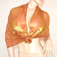 STOLA coprispalle foulard MAXI cerimonia donna oro sciarpa elegante metallizzato x abito vestito da sera 135F