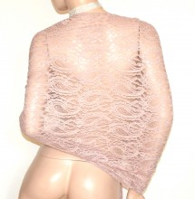 STOLA donna BEIGE rosato coprispalle scialle pizzo ricamato maxi foulard elegante cerimonia G35