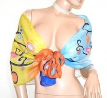 STOLA donna coprispalle azzurro giallo blu ocra foulard cerimonia elegante velato fantasia colorata A44