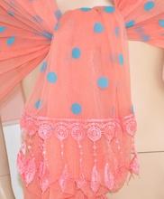 STOLA donna CORALLO seta CERIMONIA foulard POIS AZZURRI elegante MAXI COPRISPALLE velato da sera 45X