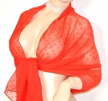 STOLA donna ROSSA maxi foulard 70%SETA velato coprispalle da cerimonia elegante H35
