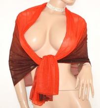 STOLA donna SETA coprispalle ROSSO AMARANTO foulard ELEGANTE da cerimonia velato 30X