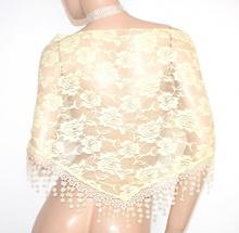 STOLA GIALLA donna foulard da cerimonia scialle coprispalle elegante pizzo ricamato velato E140