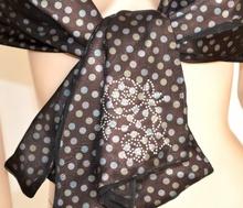 STOLA marrone POIS donna COPRISPALLE foulard seta ELEGANTE cerimonia tulle abito da sera 950